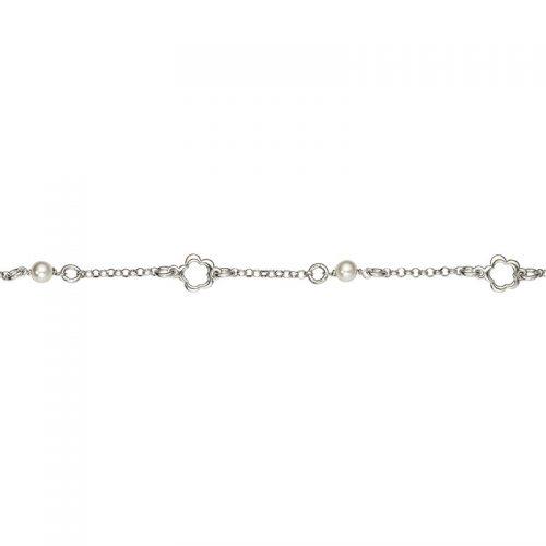 Armband Silber Perlen und Blumen