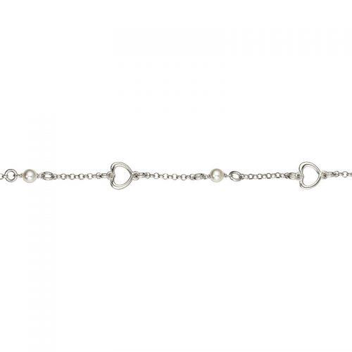 Armband Silber Perlen und Herz