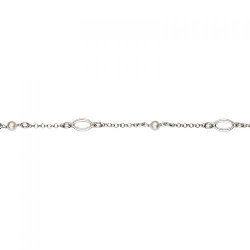 Armband Silber Perlen und Oval