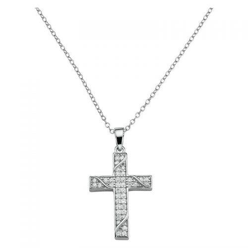 Silber Collier Kreuz mit Ranken