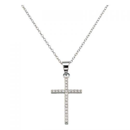Silber Collier Kreuz mit Steinen besetzt