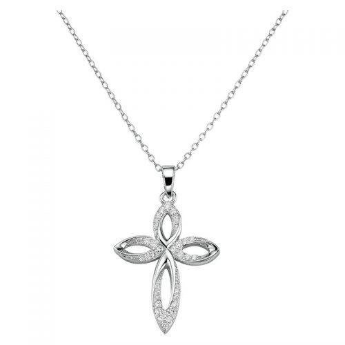 Silber Collier Kreuz verspielt